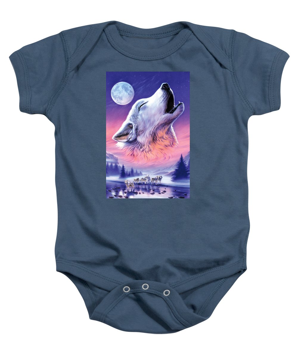 Wolf Baby Onesie featuring the photograph Baying To The Moon by Andrew Farley