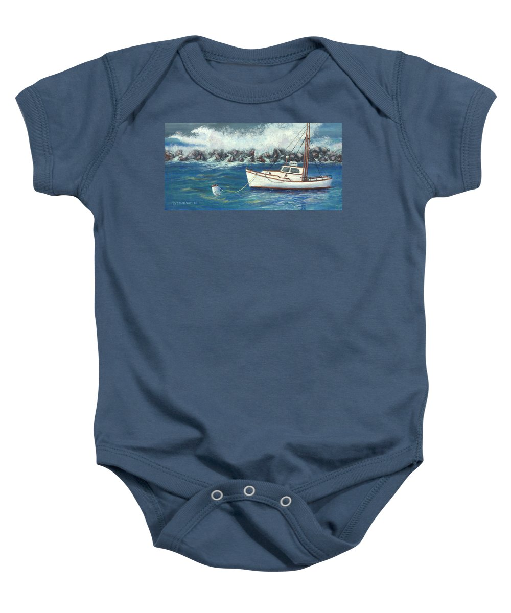 Ocean Baby Onesie featuring the painting Behind the Breakwall by Jerry McElroy