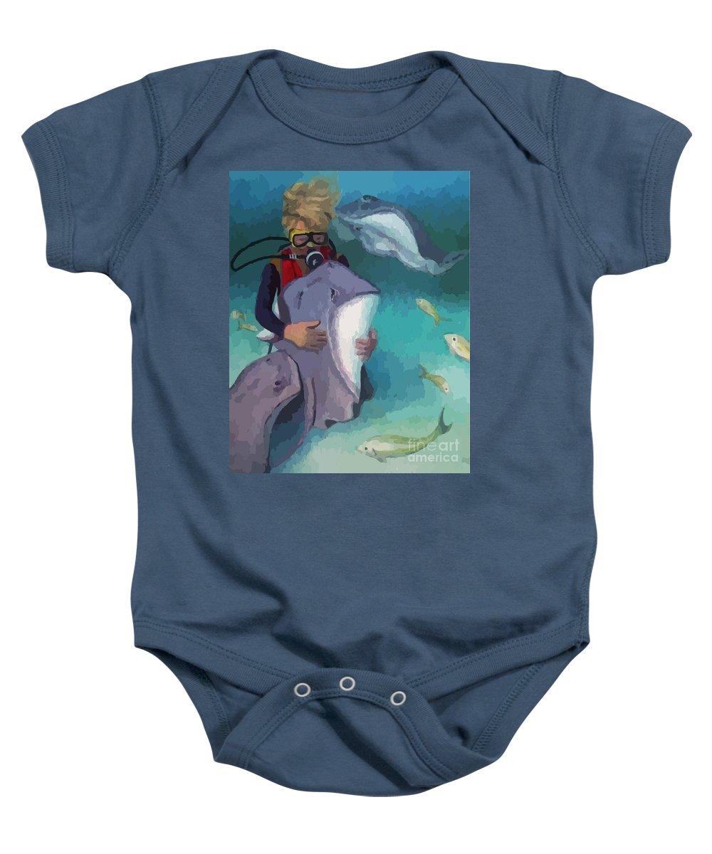 Benevolent Creatures Baby Onesie featuring the painting Benevolent Creatures At Stingray City by John Malone