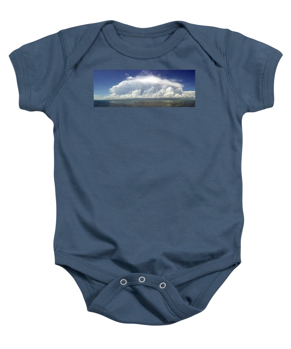 Duane Mccullough Baby Onesie featuring the photograph Big Thunderstorm Over The Bay by Duane McCullough