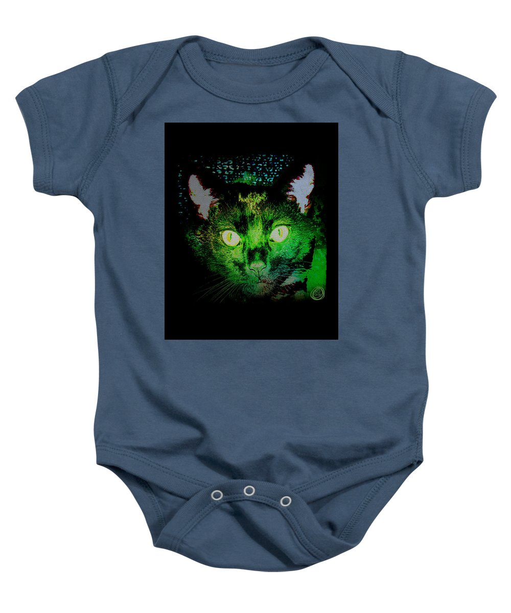 Black Cat Baby Onesie featuring the digital art Black Cat Night Vision by Absinthe Art By Michelle LeAnn Scott