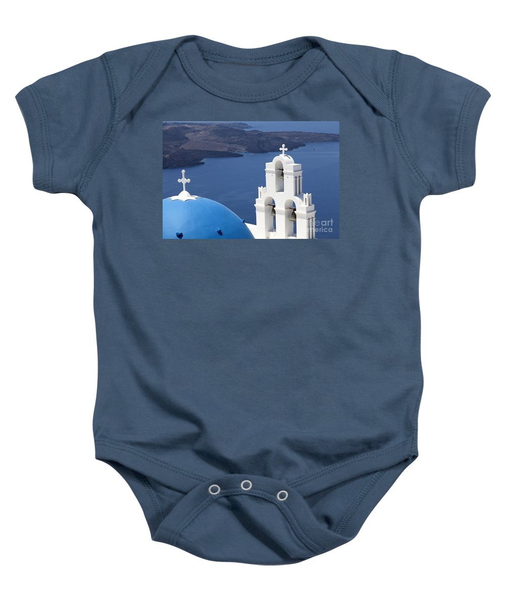 Destination Scenics Baby Onesie featuring the photograph Blue Domed Church On Santorini by Sophie McAulay