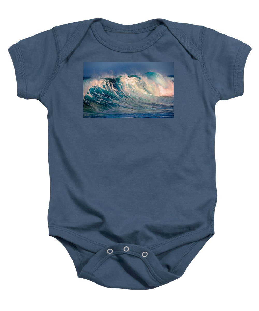 Wave Baby Onesie featuring the photograph Blue Power. Indian Ocean by Jenny Rainbow