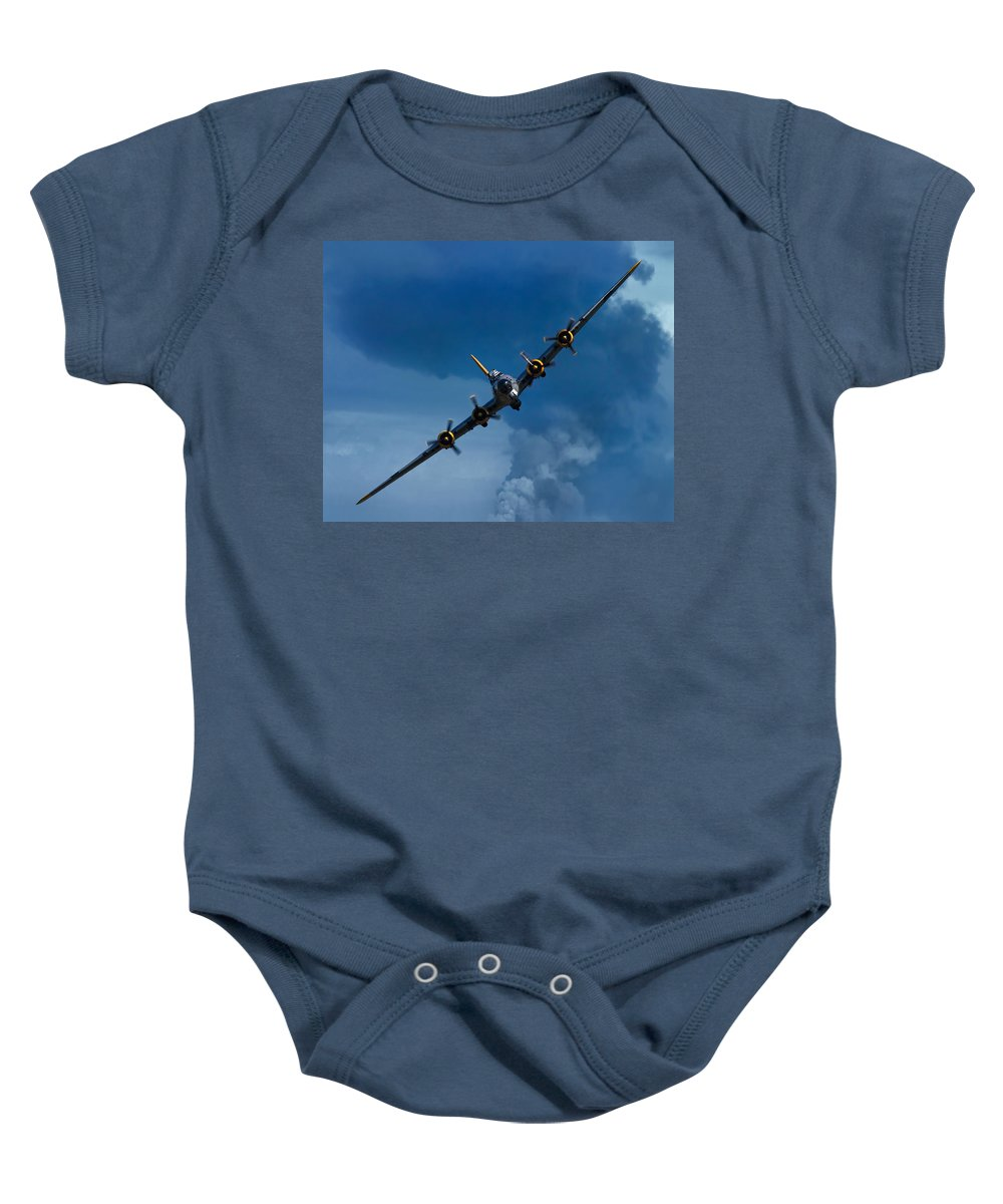 3scape Baby Onesie featuring the photograph Boeing B-17 Flying Fortress by Adam Romanowicz
