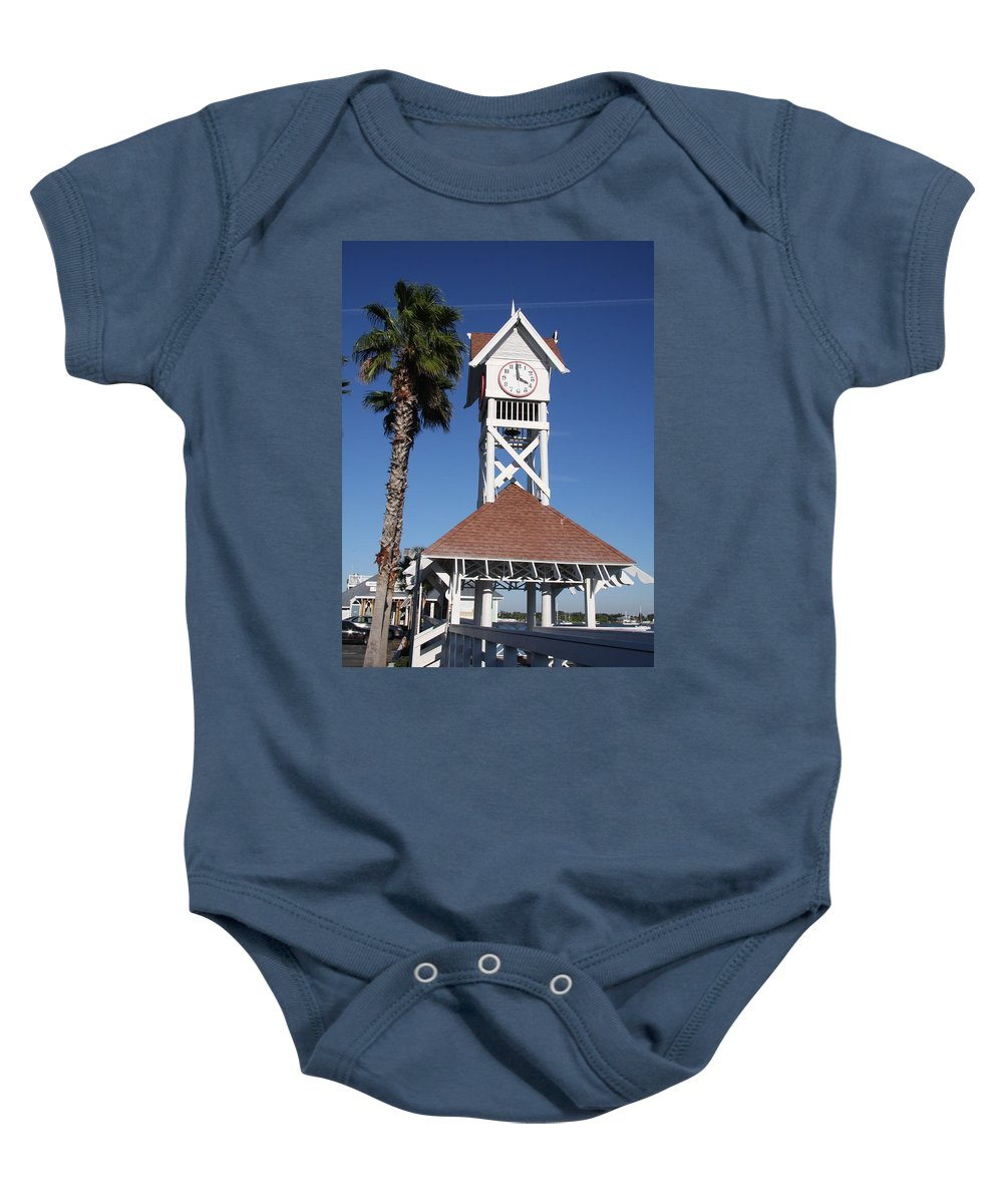 Pier Baby Onesie featuring the photograph Bridge Street Pier And Clocktower by Christiane Schulze Art And Photography