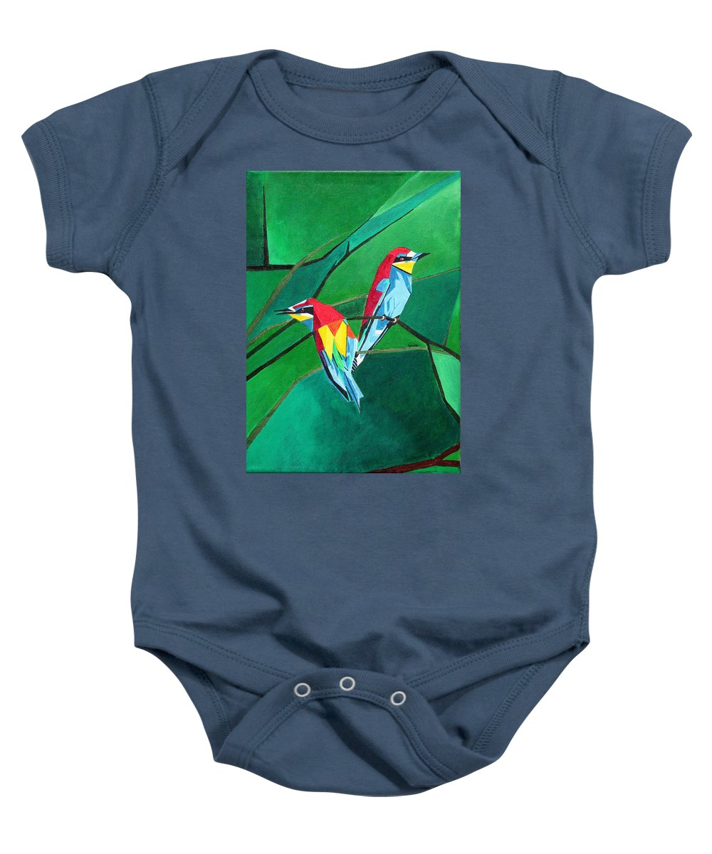 European Bee Eater Baby Onesie featuring the painting Brighly Colored European Bee-eaters by Taiche Acrylic Art