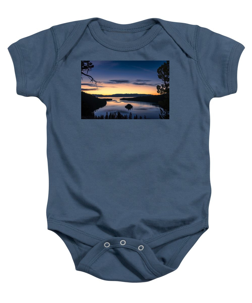 Landscape Baby Onesie featuring the photograph Calm Morning by Maria Coulson