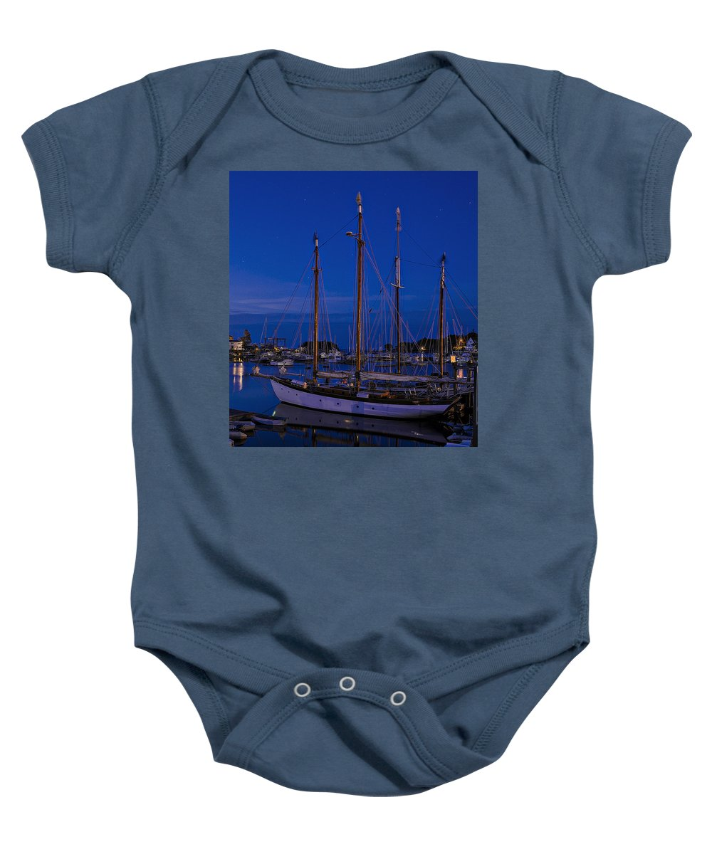 Camden Maine Baby Onesie featuring the photograph Camden Harbor Maine At 4am by Marty Saccone