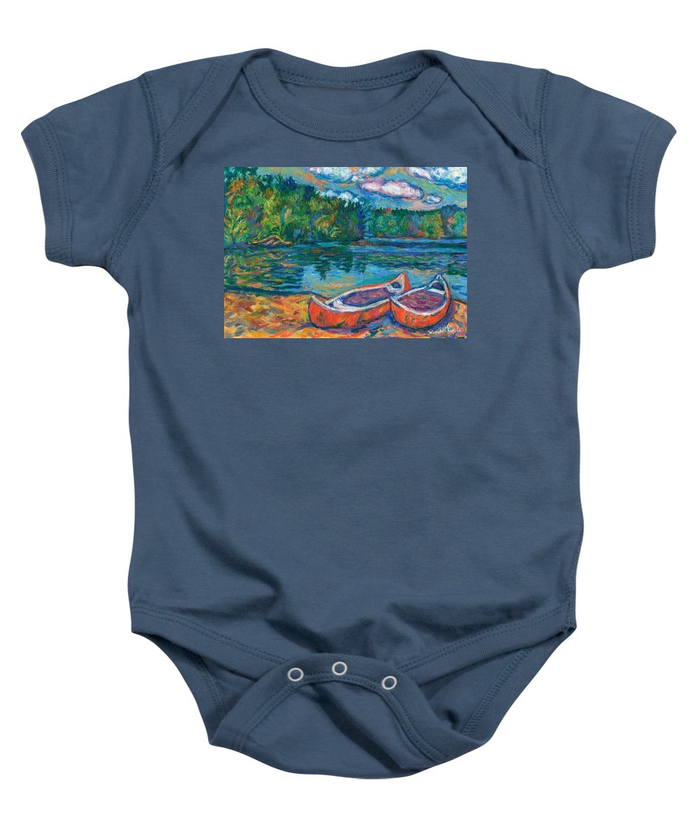 Landscape Baby Onesie featuring the painting Canoes At Mountain Lake Sketch by Kendall Kessler