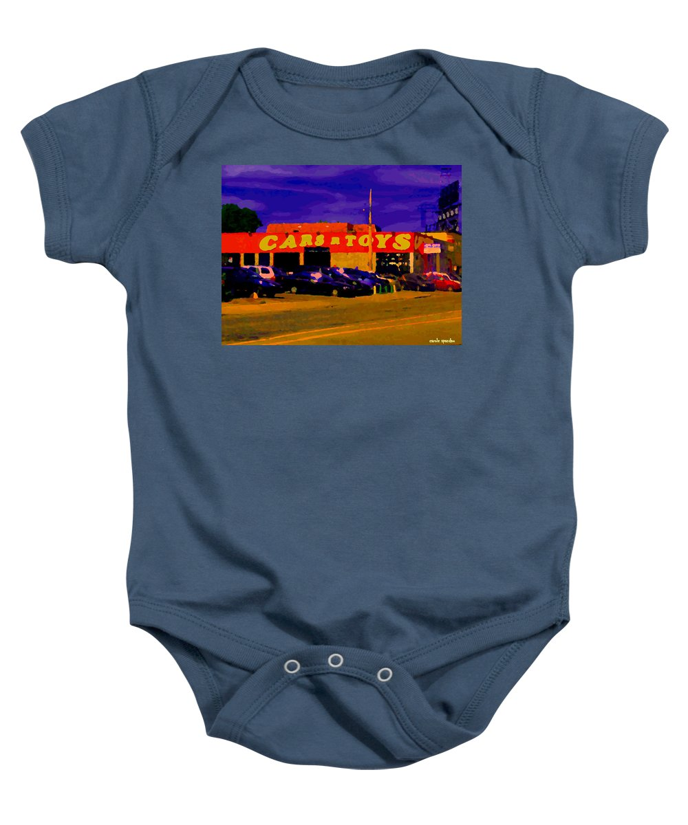 Cars R Toys Baby Onesie featuring the painting Cars R Toys Evening Rue St.jacques Used Cars Trucks Suvs Montreal Urban Scene Carole Spandau by Carole Spandau