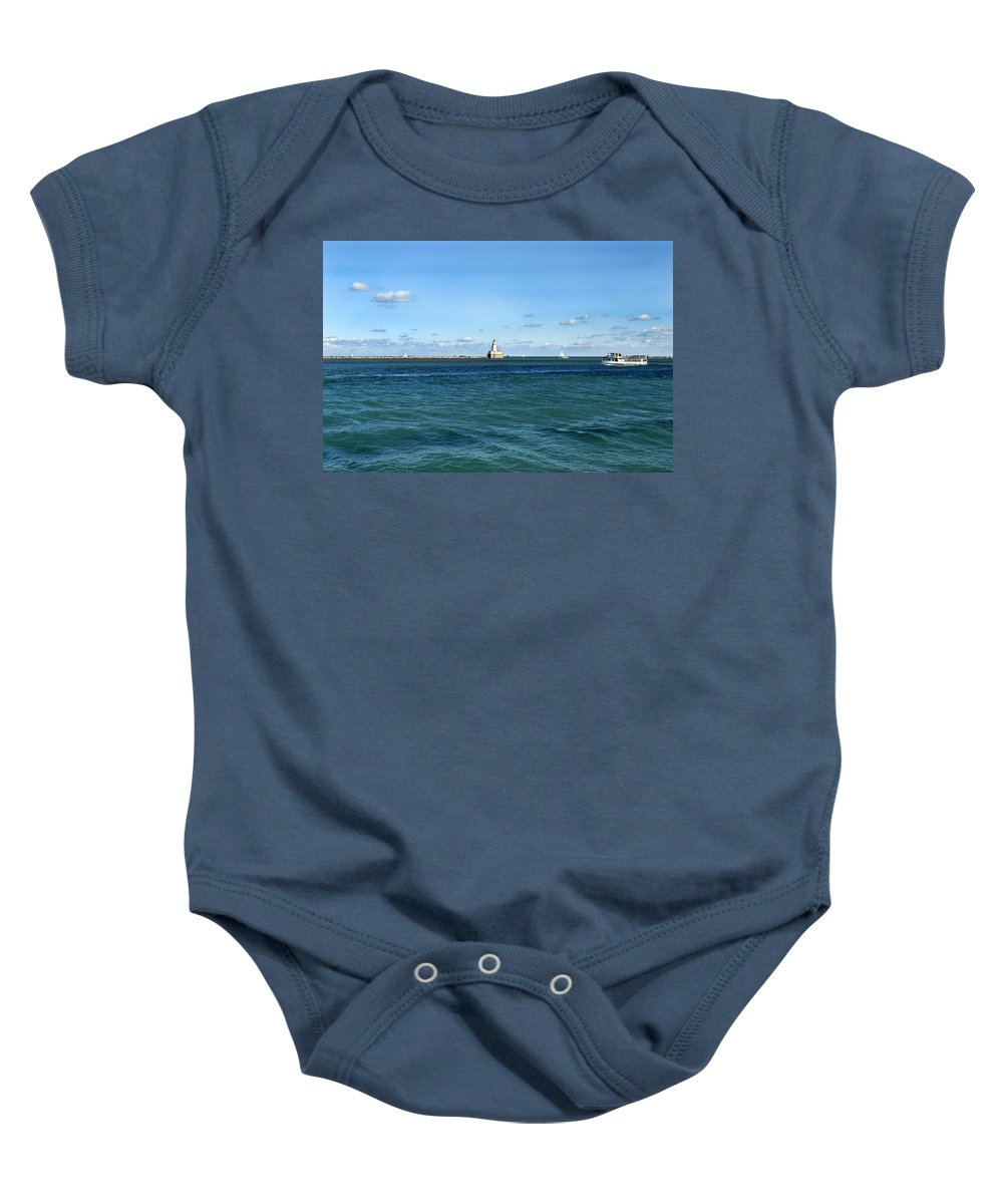Horizontal Baby Onesie featuring the photograph Chicago Illinois Harbor Lighthouse And Little Lady Tour Boat Usa by Sally Rockefeller