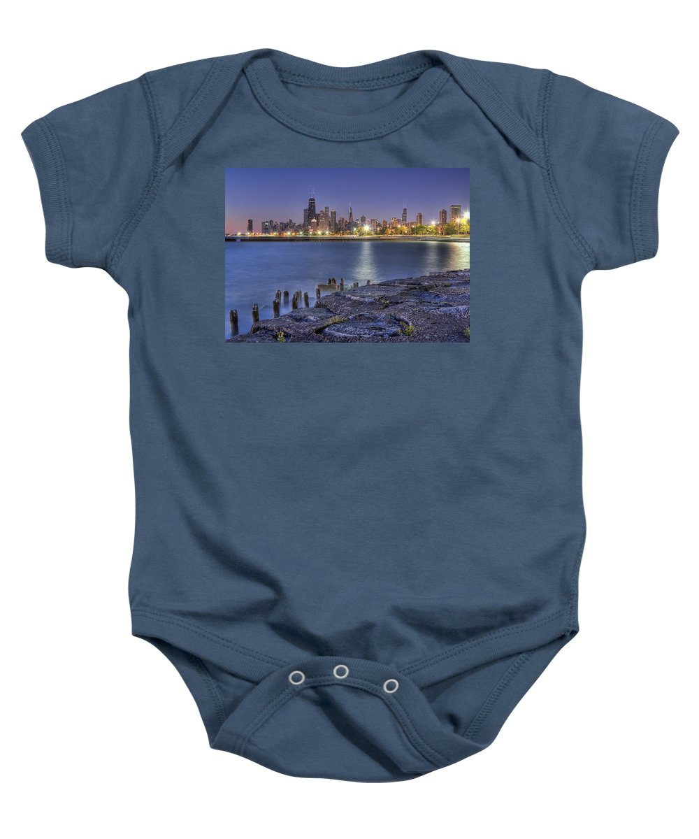 Chicago Baby Onesie featuring the photograph City Lights by Lindley Johnson