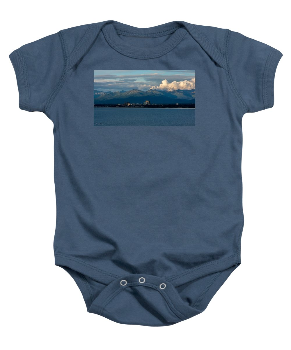City Baby Onesie featuring the photograph City Of Anchorage by Andrew Matwijec