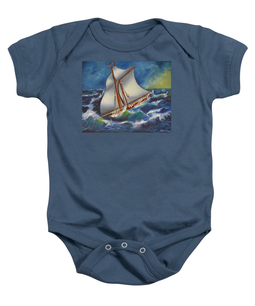 Seascapes Baby Onesie featuring the painting Daves' Ship by Charme Curtin