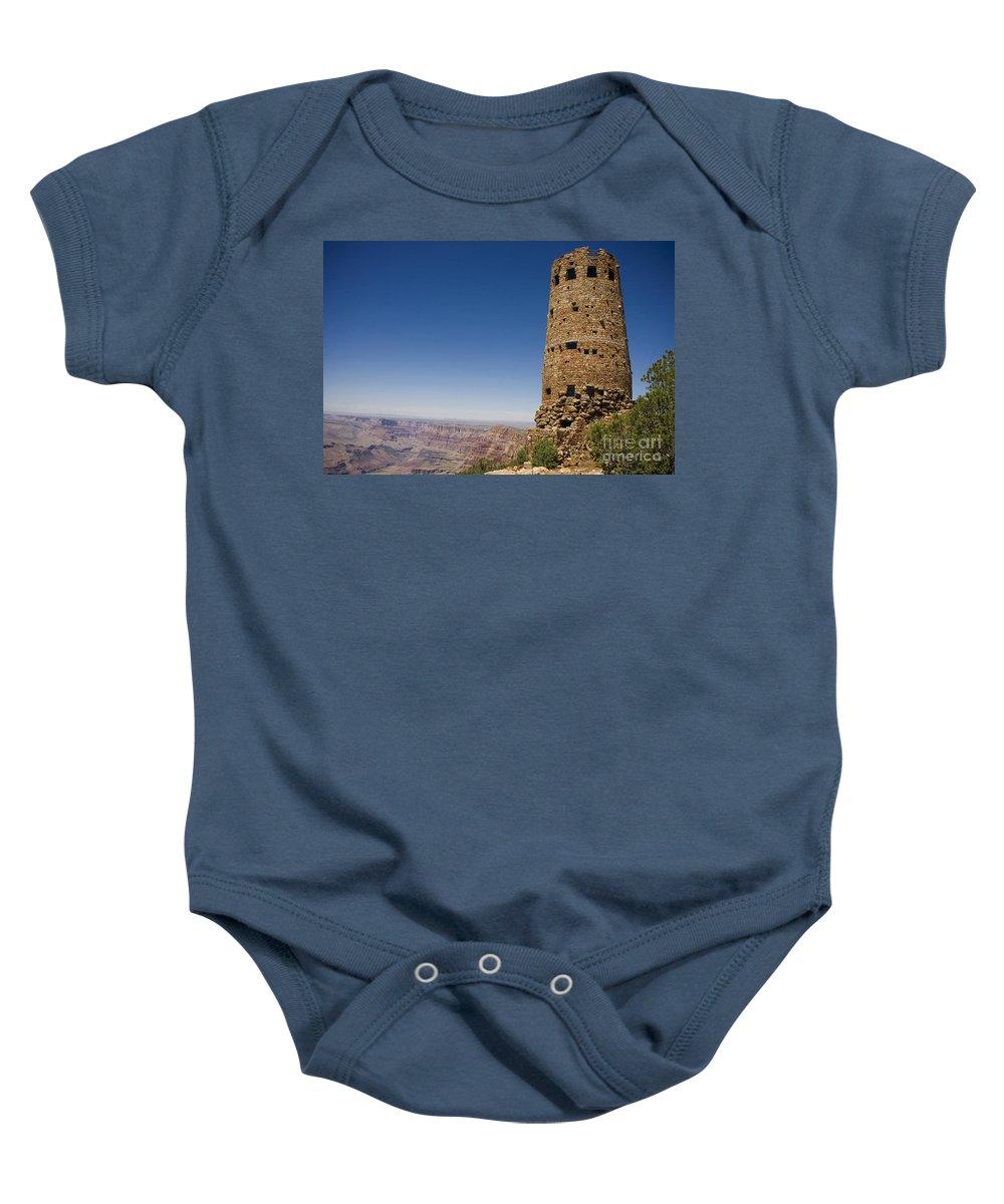 Desert View Watchtower Baby Onesie featuring the photograph Desert View Watchtower Grand Canyon National Park Arizona by Jason O Watson