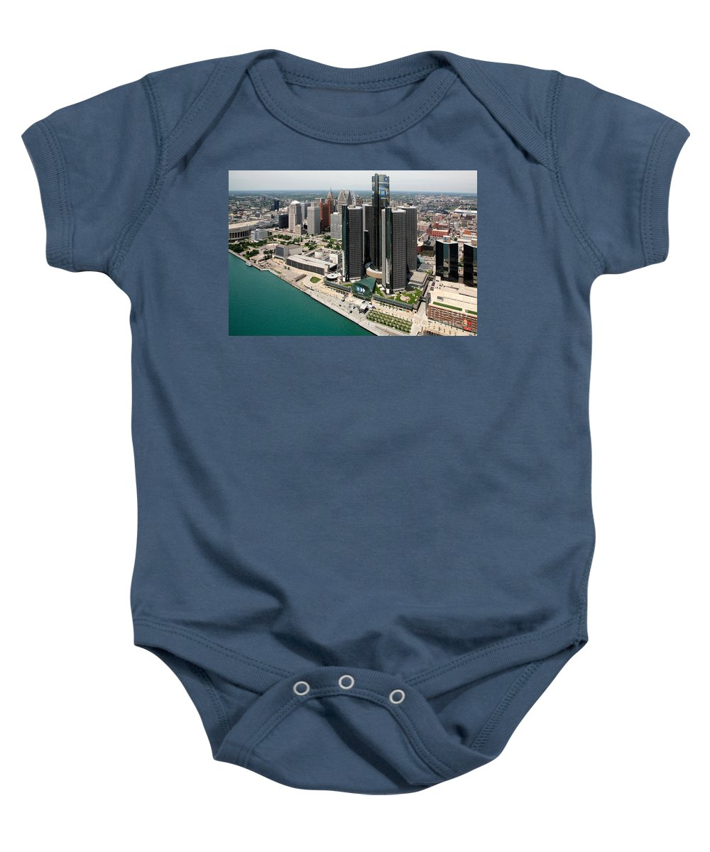 General Motors Baby Onesie featuring the photograph Detroit International Riverfront by Bill Cobb