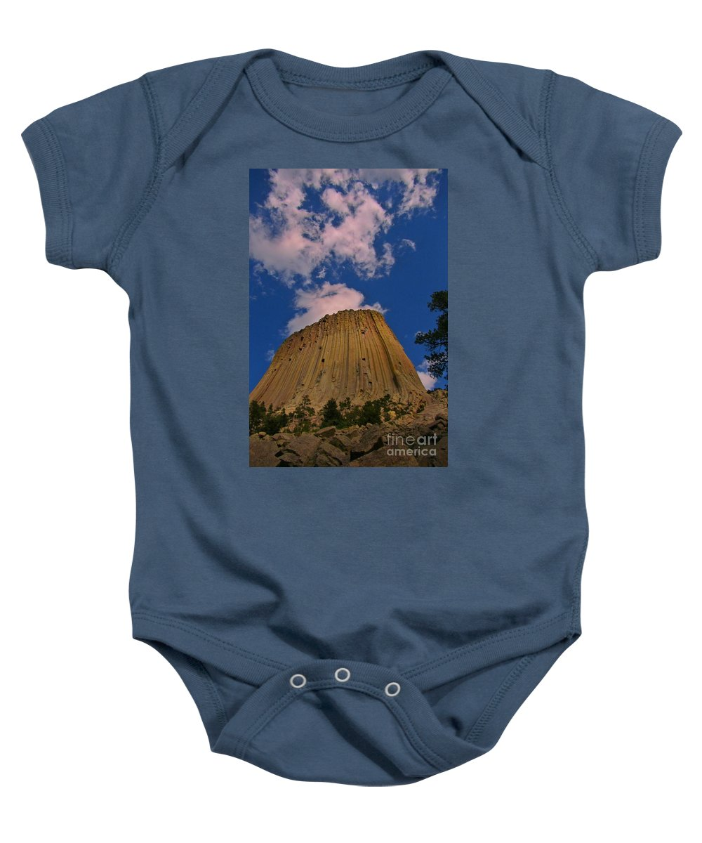 Geology Prints Baby Onesie featuring the photograph Devils Tower As A Volcano by John Malone