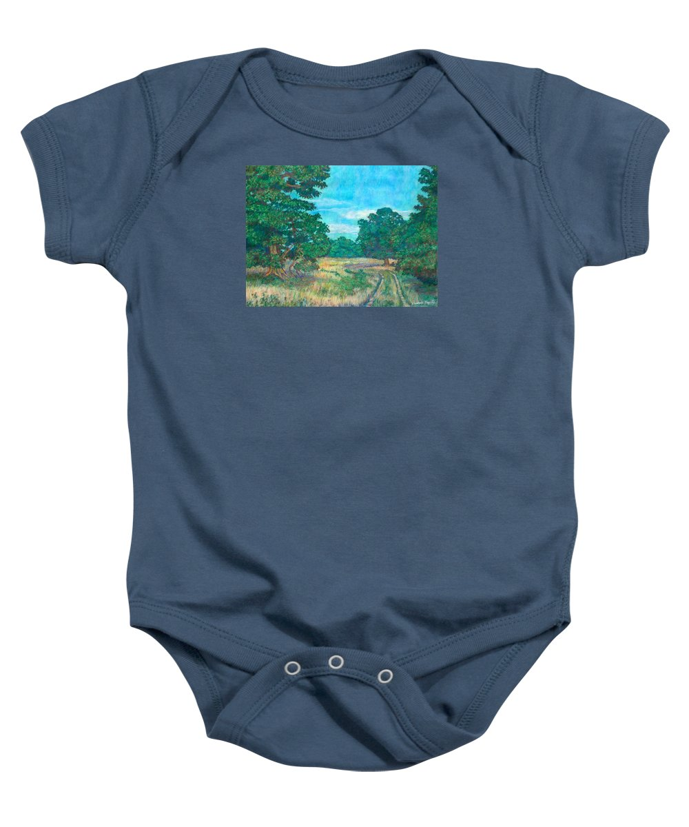 Landscape Baby Onesie featuring the painting Dirt Road Near Rock Castle Gorge by Kendall Kessler
