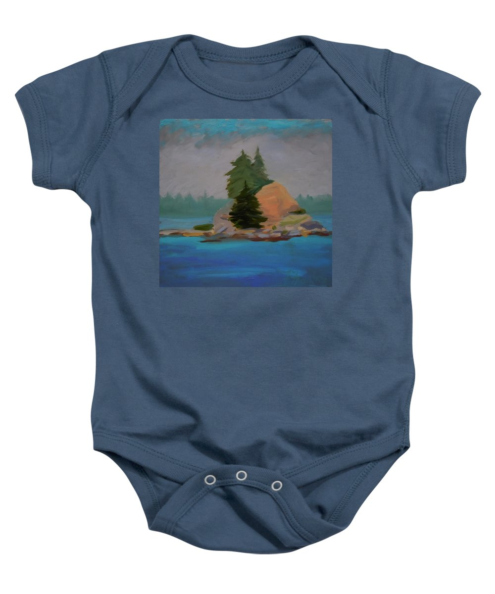 Maine Baby Onesie featuring the painting Pork Of Junk by Francine Frank