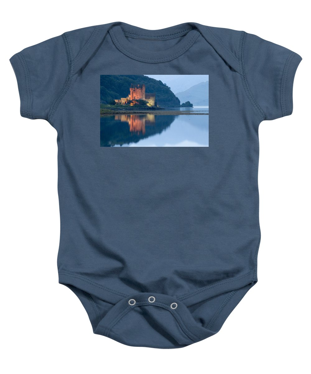 Eilean Baby Onesie featuring the photograph Eilean Donan Castle Dusk by Jeremy Voisey