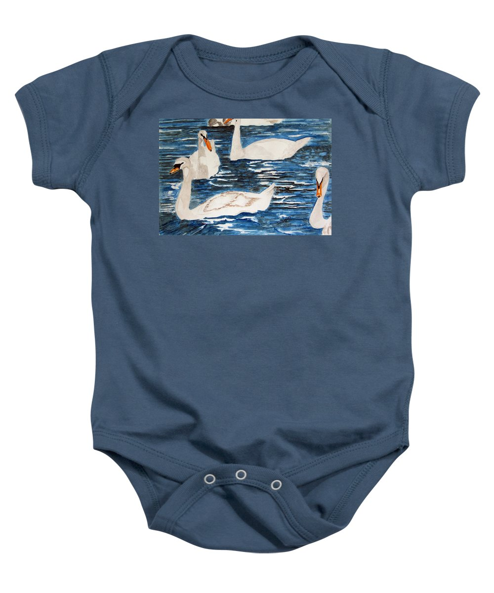 England Art Baby Onesie featuring the painting English Swan In The Queen's Garden by Larry Wright
