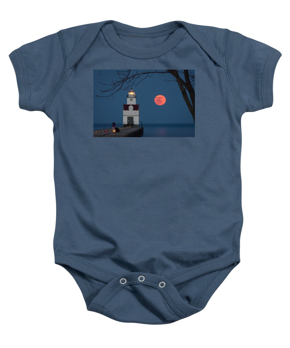 Lighthouse Baby Onesie featuring the photograph Fishing Light by Bill Pevlor