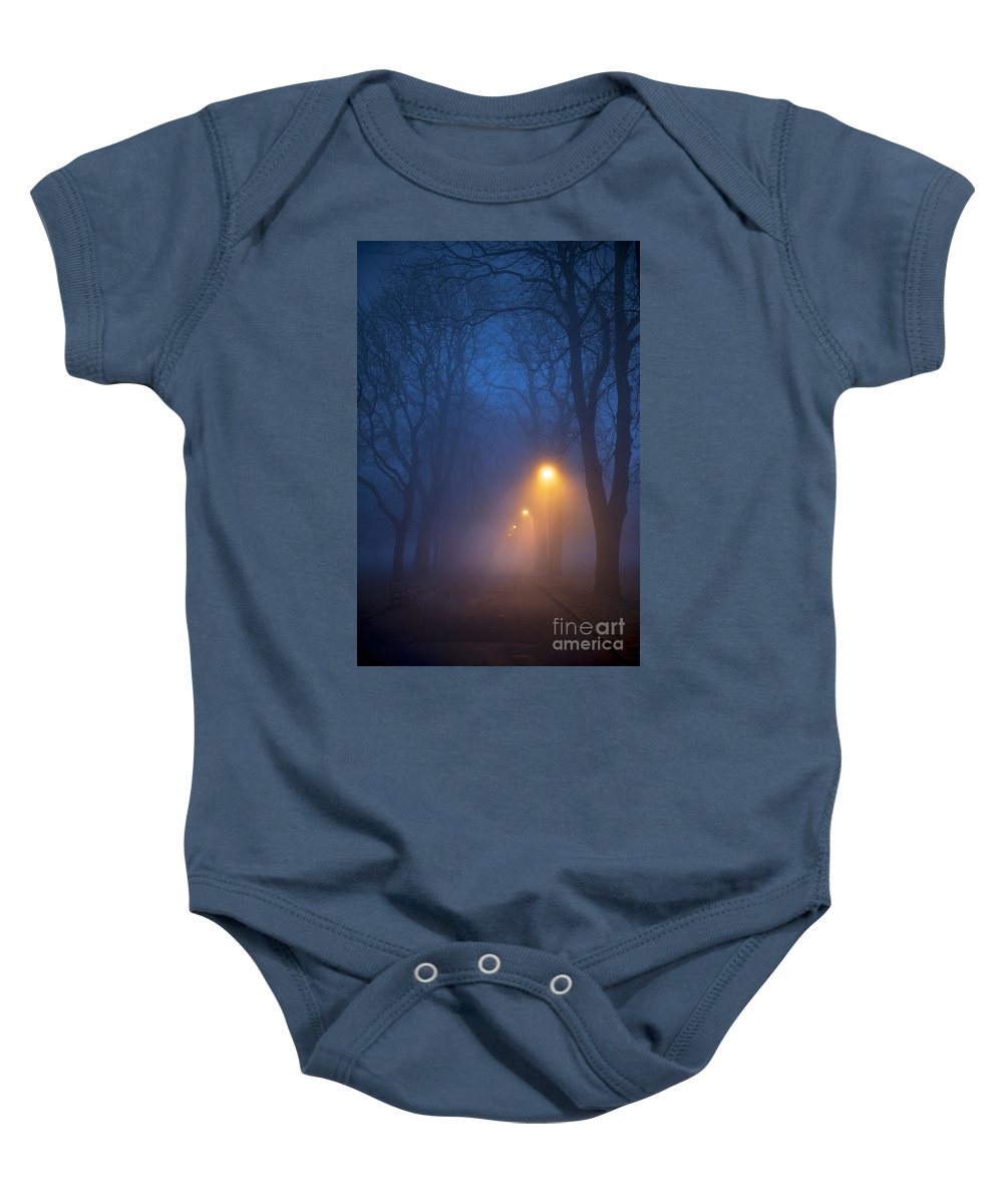 Fog Baby Onesie featuring the photograph Foggy Avenue Of Trees With Path At Night No People by Lee Avison