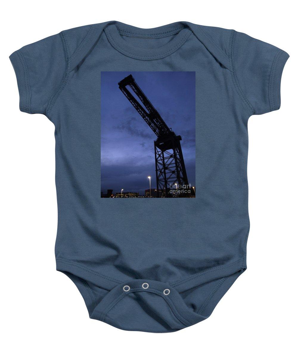 Crane Baby Onesie featuring the photograph Glasgow Dock Crane 02 by Antony McAulay