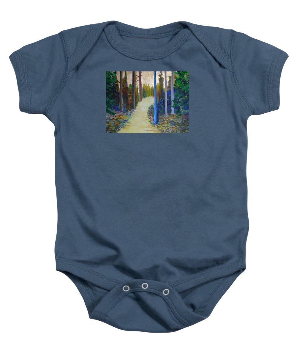 Landscape Baby Onesie featuring the painting Glow Of Spring by Jarle Rosseland