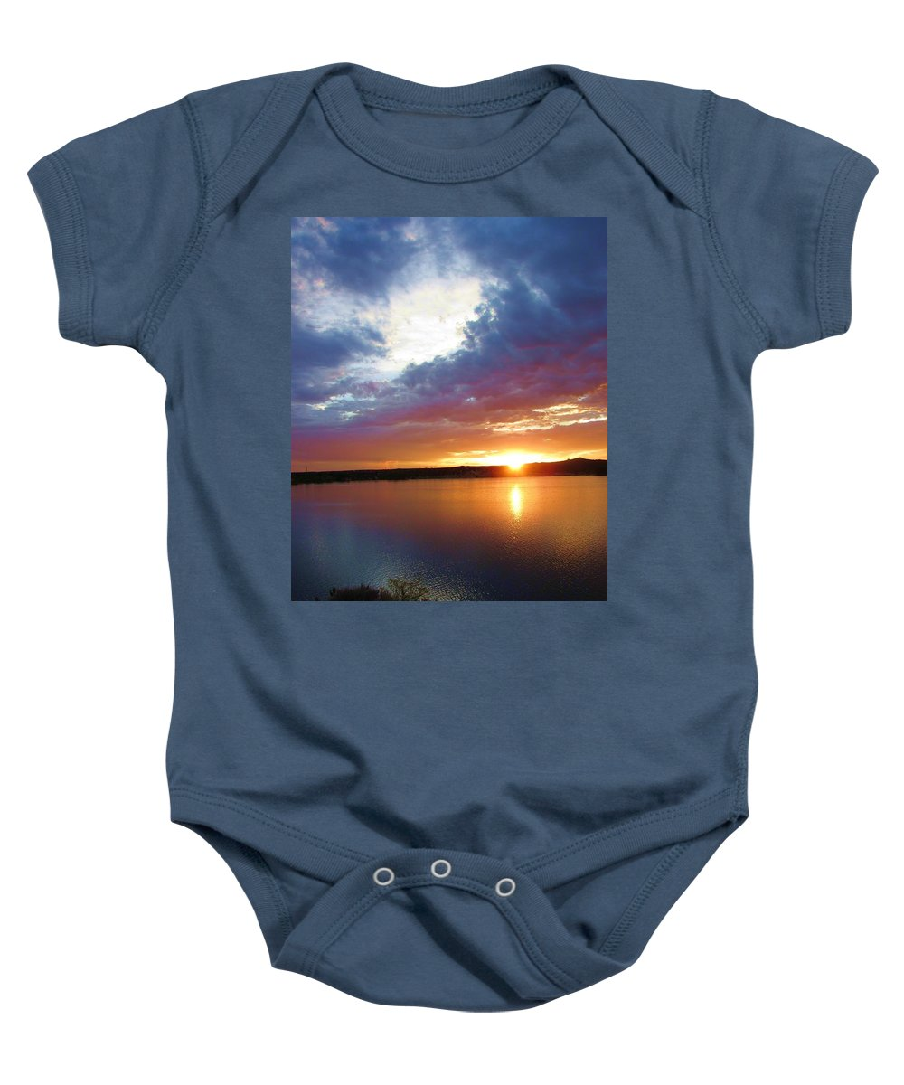 Sunset Baby Onesie featuring the pyrography God's Handiwork by Jewell McChesney