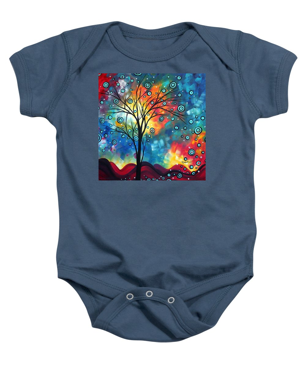 Wall Baby Onesie featuring the painting Greeting The Dawn By Madart by Megan Duncanson