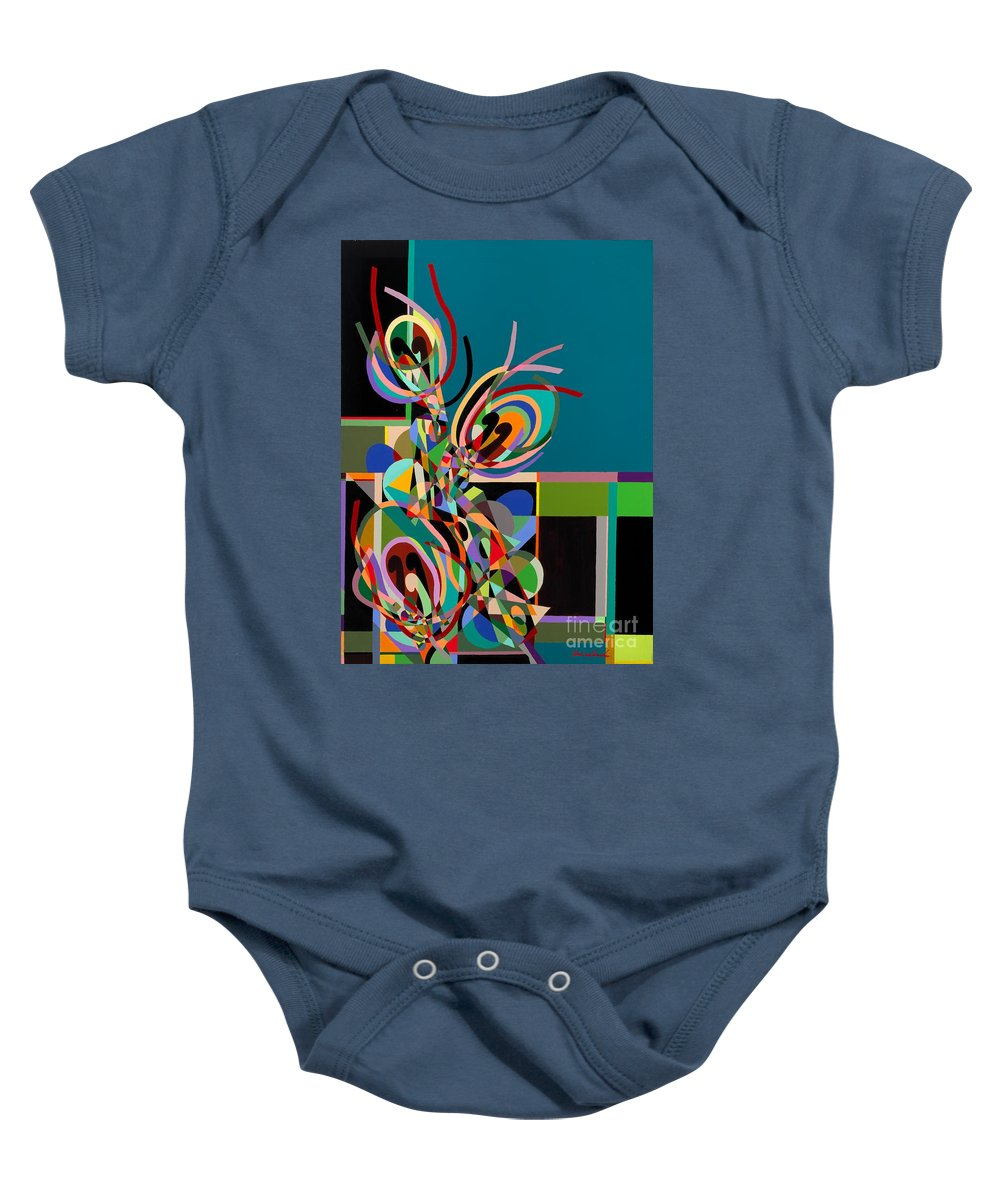 Landscape Baby Onesie featuring the painting Harlequin by Allan P Friedlander