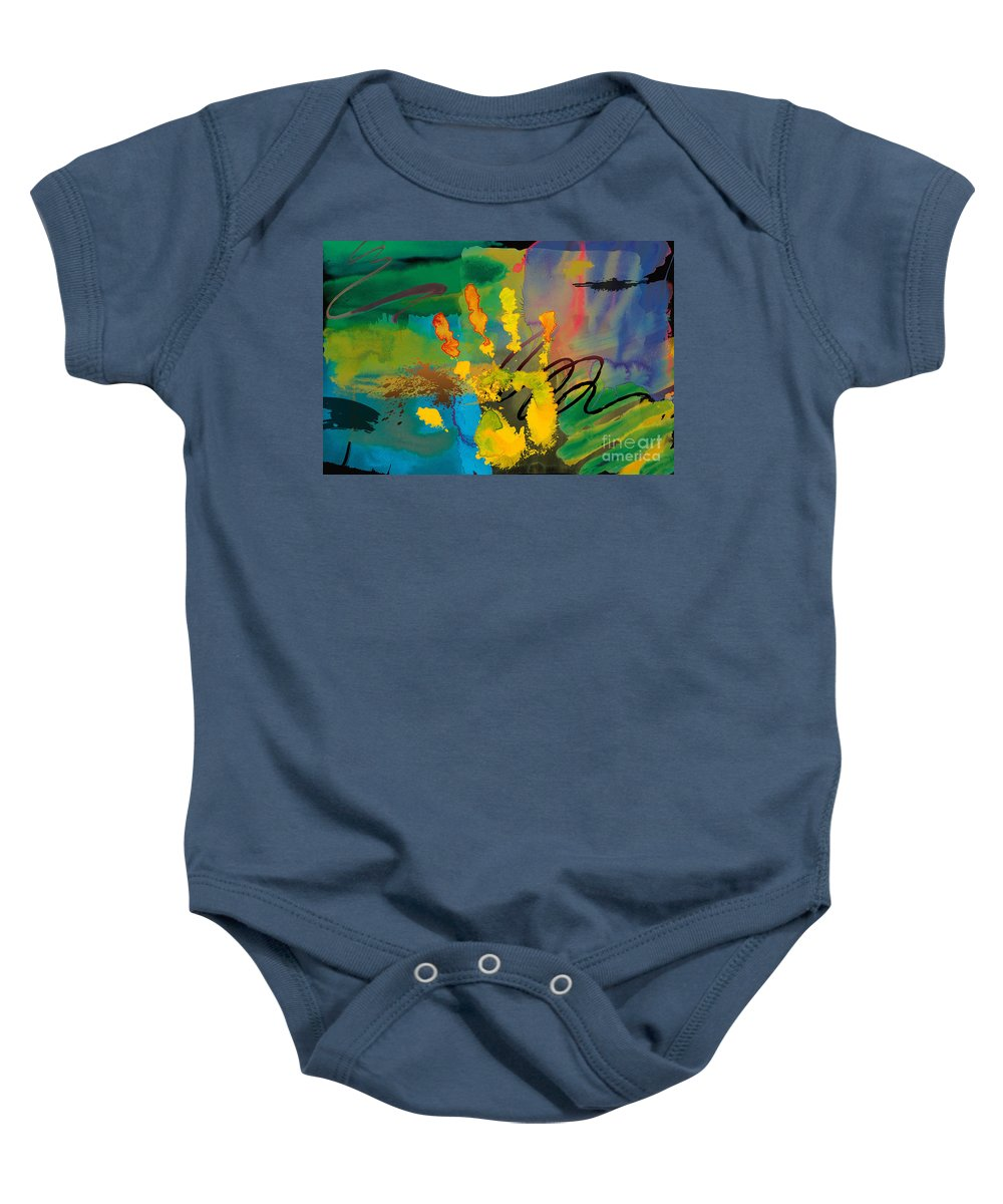Hi Baby Onesie featuring the digital art Hi 5 by Peter Awax