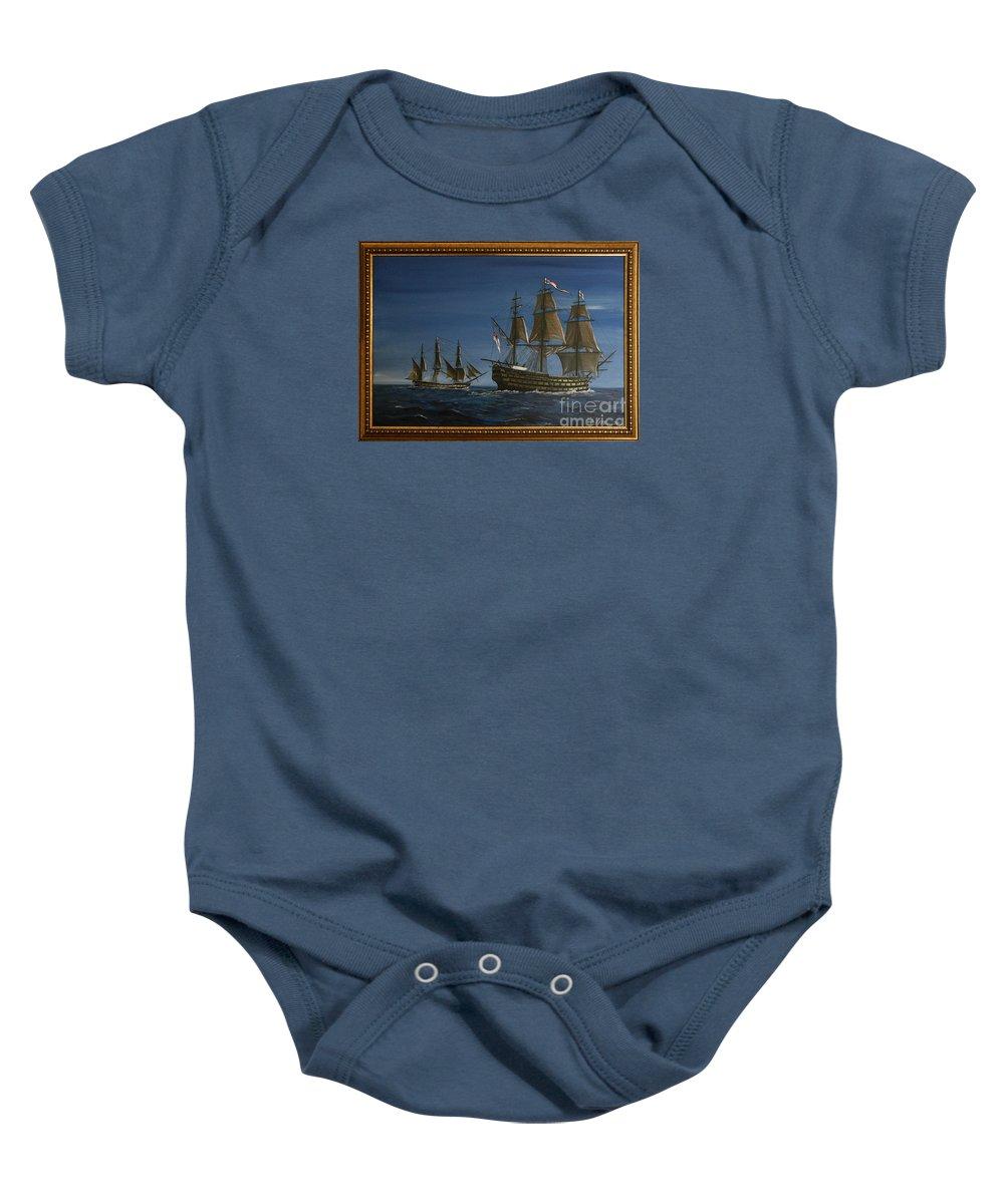Battle Of Trafalgar Baby Onesie featuring the painting Hms Victory Dawn by Richard John Holden RA