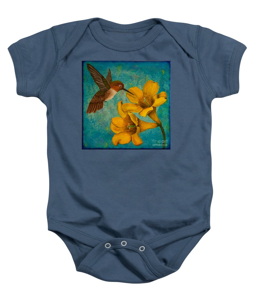 Bird Baby Onesie featuring the painting Hummingbird With Yellow Jasmine by Susan Cliett