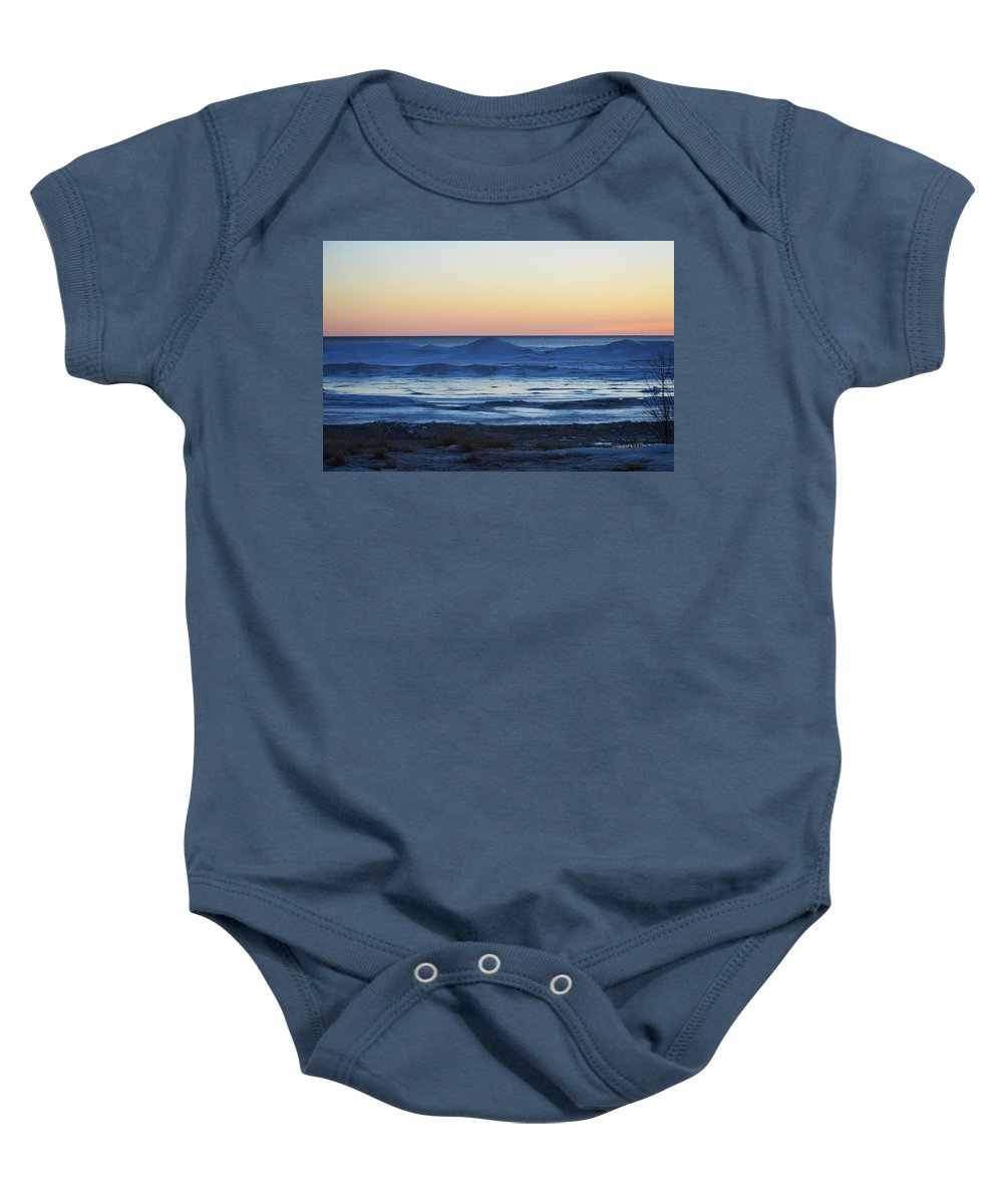 Lake Michigan Baby Onesie featuring the photograph Icy Blues by Linda Kerkau
