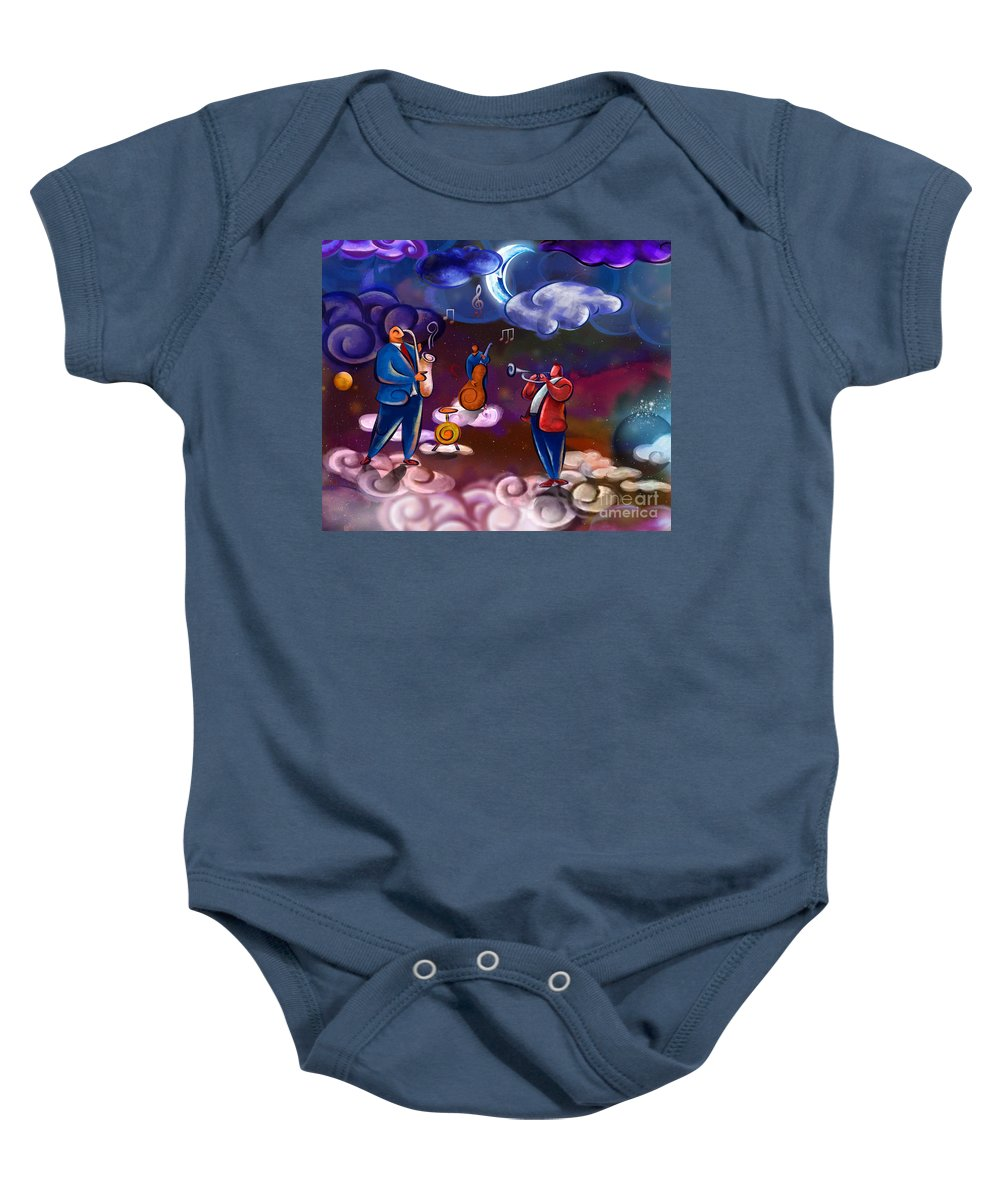 Music Baby Onesie featuring the digital art Jazz In Heaven by Peter Awax