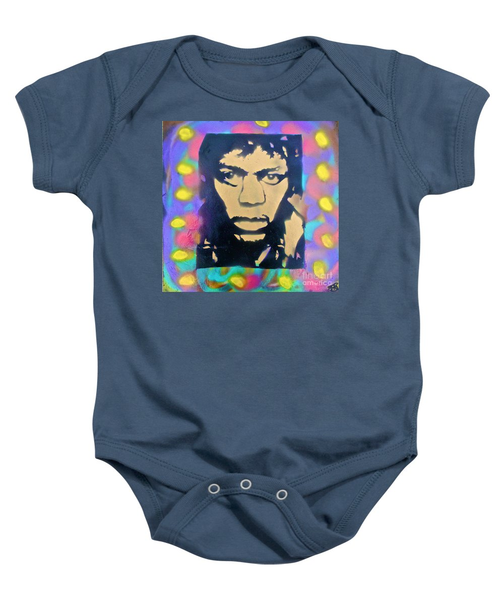 Jimi Hendrix Baby Onesie featuring the painting Jimi Hendrix Squared by Tony B Conscious