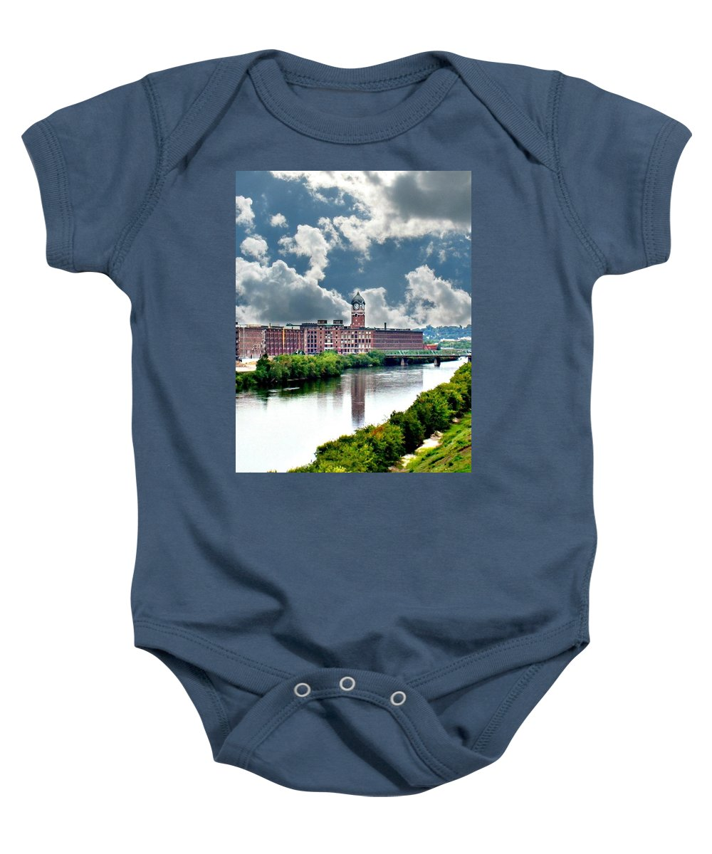 Lawrence Baby Onesie featuring the photograph Lawrence Ma Historic Clock Tower by Barbara S Nickerson