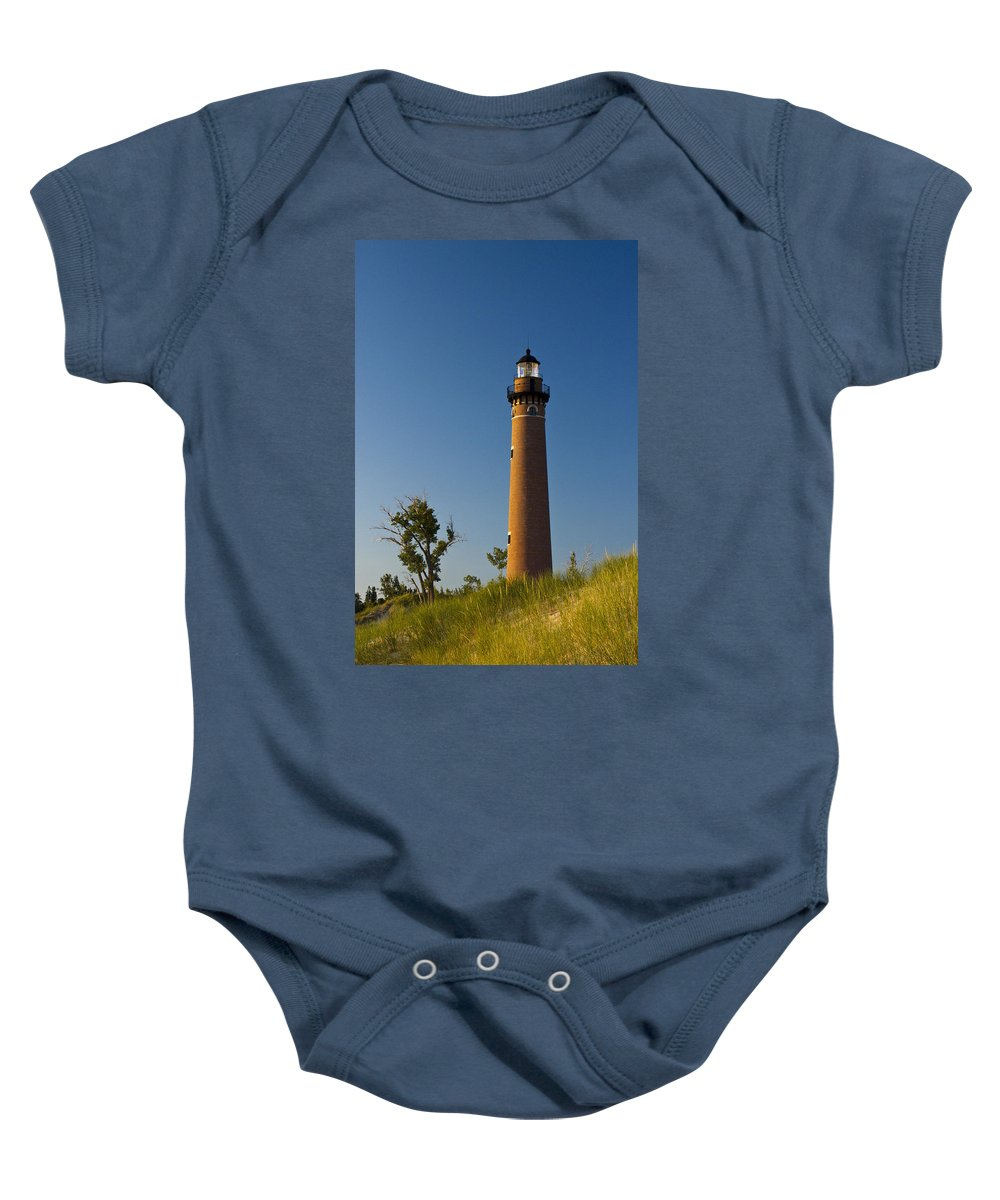 Art Baby Onesie featuring the photograph Little Sable Lighthouse On The Dune By Silver Lake Michigan No.560 by Randall Nyhof