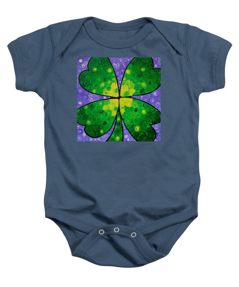 Shamrock Baby Onesie featuring the painting Lucky One by Sharon Cummings