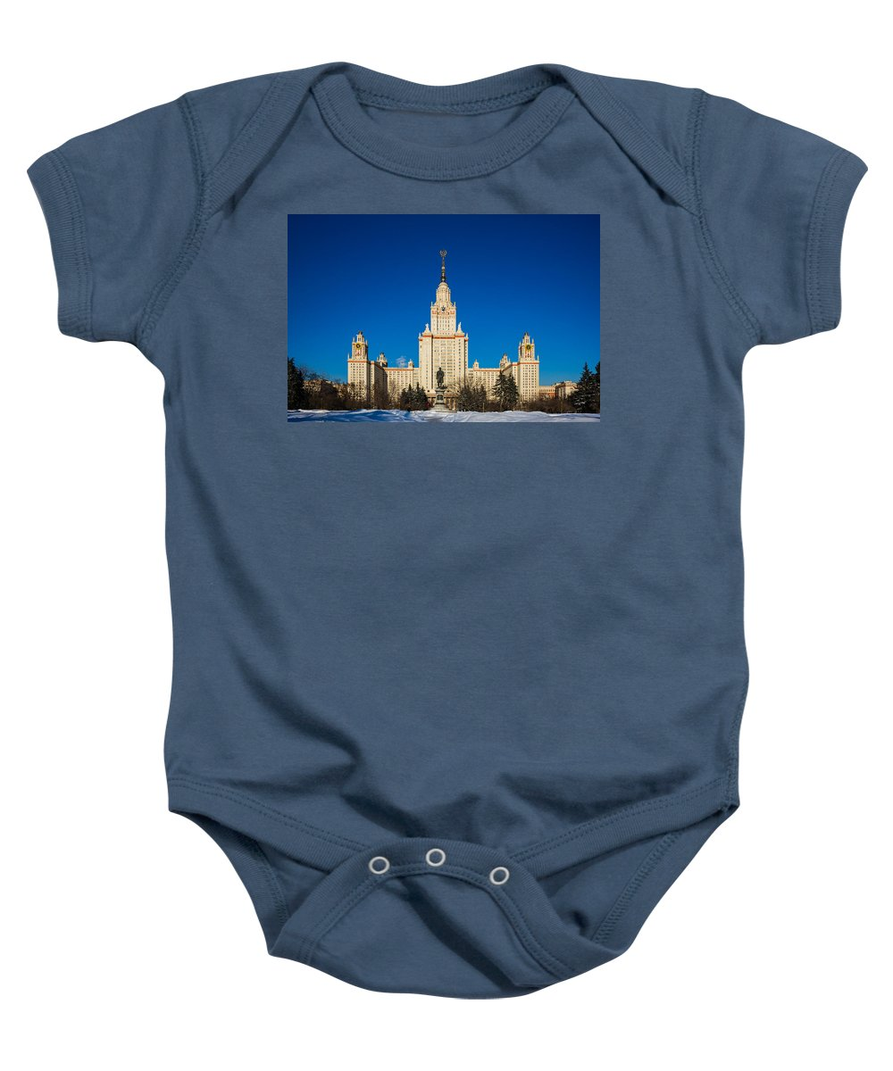 Architecture Baby Onesie featuring the photograph Main Building Of Moscow State University On Sparrow Hills by Alexander Senin
