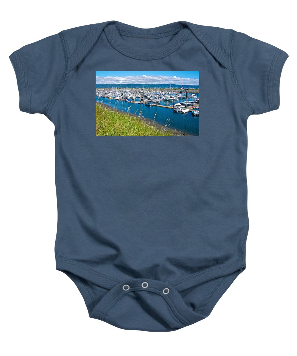 Marina Along Homer Spit Baby Onesie featuring the photograph Marina Along Homer Spit-ak by Ruth Hager
