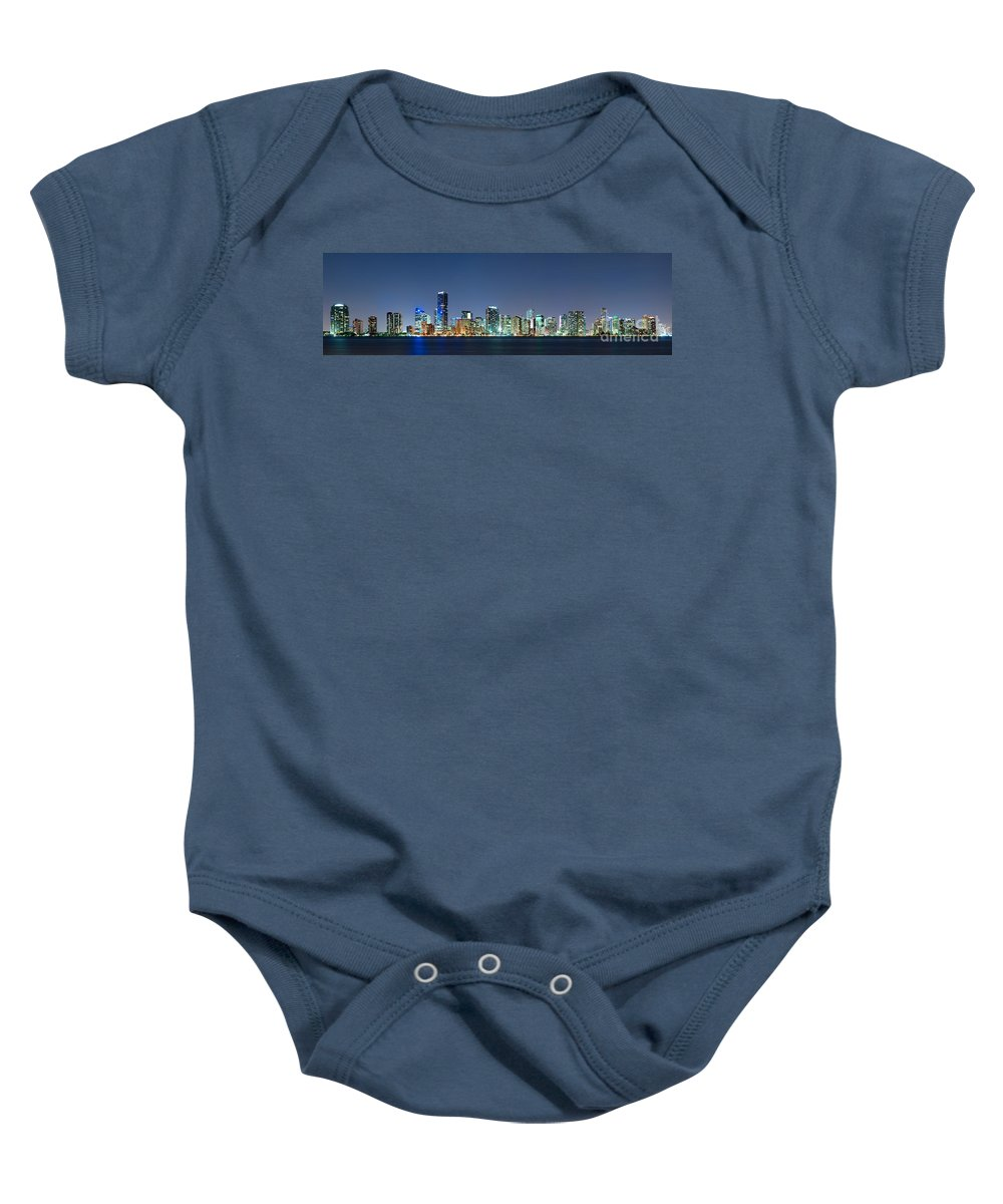 Miami Baby Onesie featuring the photograph Miami Skyline At Night by Carsten Reisinger