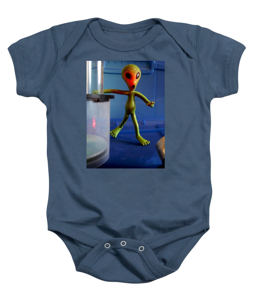 Grays Baby Onesie featuring the photograph Midnight Alien Skinnydipping Party by Del Gaizo