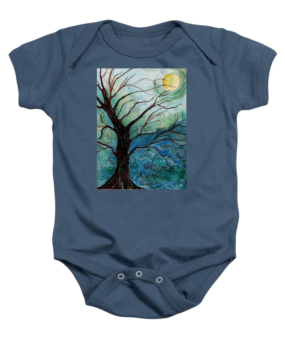 Landscape Baby Onesie featuring the painting Moonrise In The Wild Night by Brenda Owen