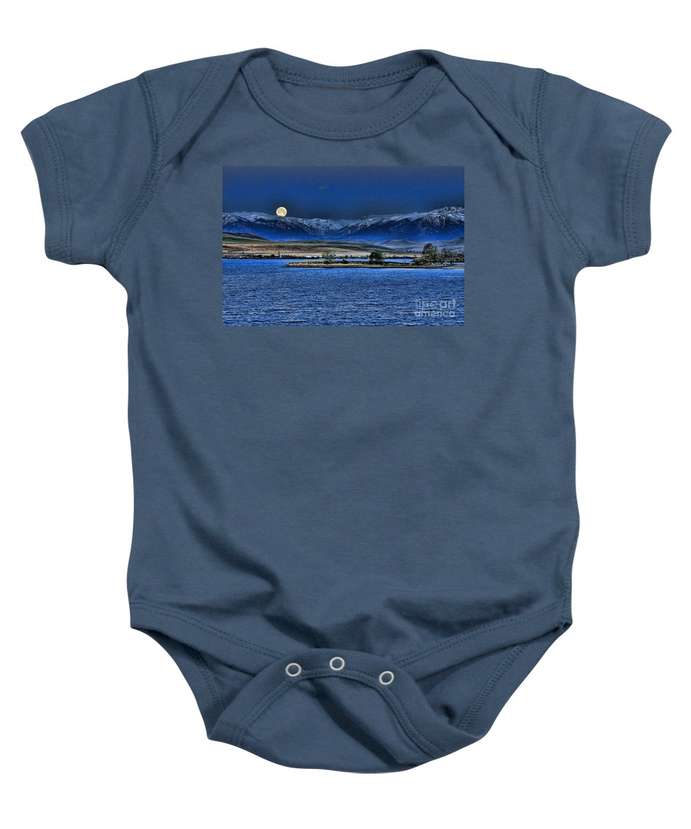 Cooney Baby Onesie featuring the photograph Moonset Over Cooney by Gary Beeler