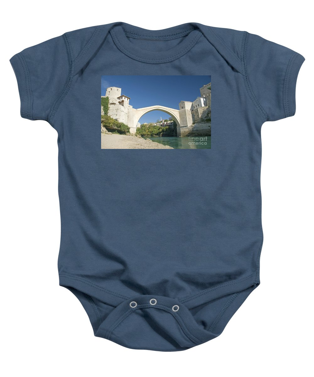 Architecture Baby Onesie featuring the photograph Mostar Bridge In Bosnia by Jacek Malipan