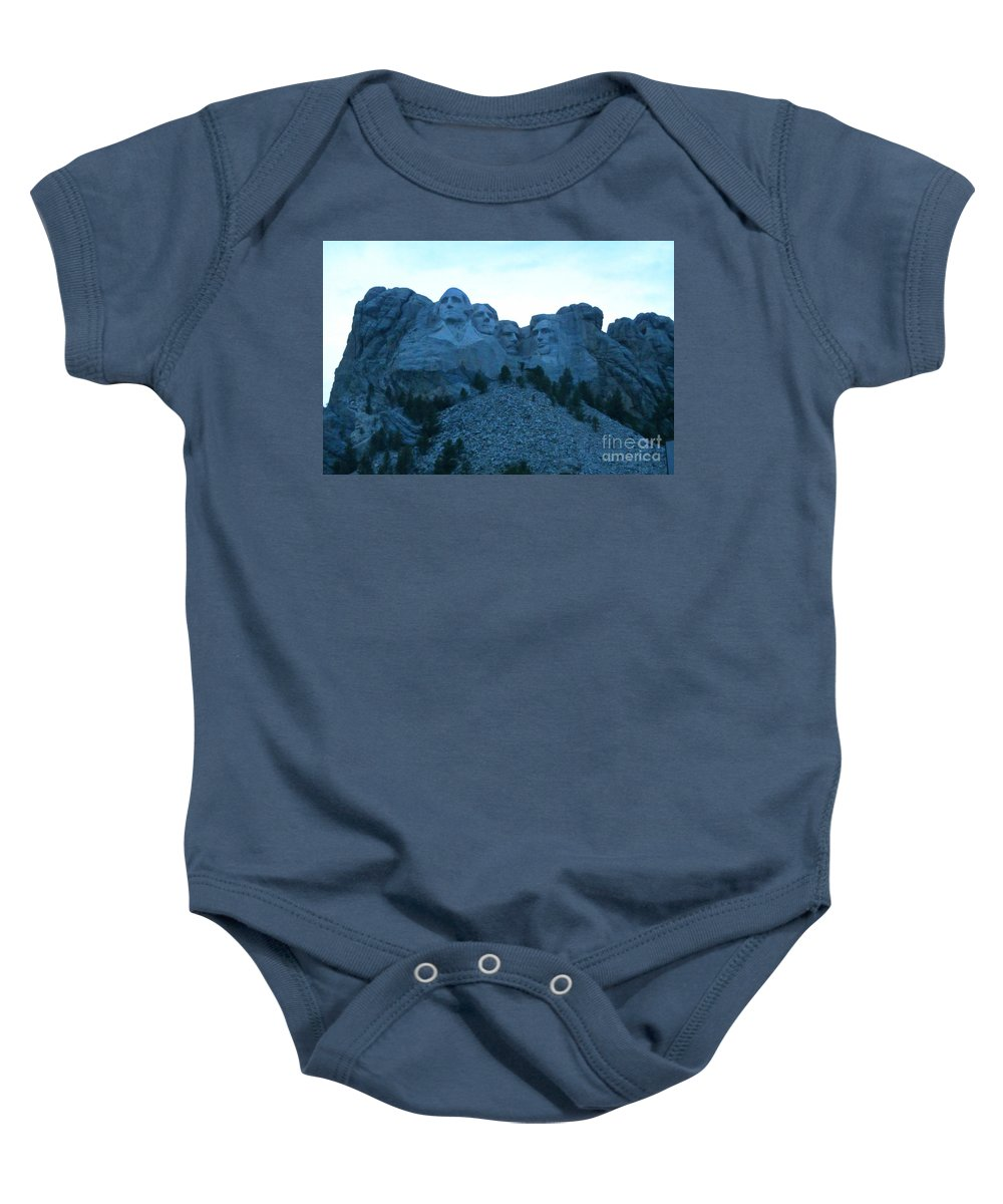Mount Rushmore At Night Art Baby Onesie featuring the photograph Mount Rushmore Blues by John Malone