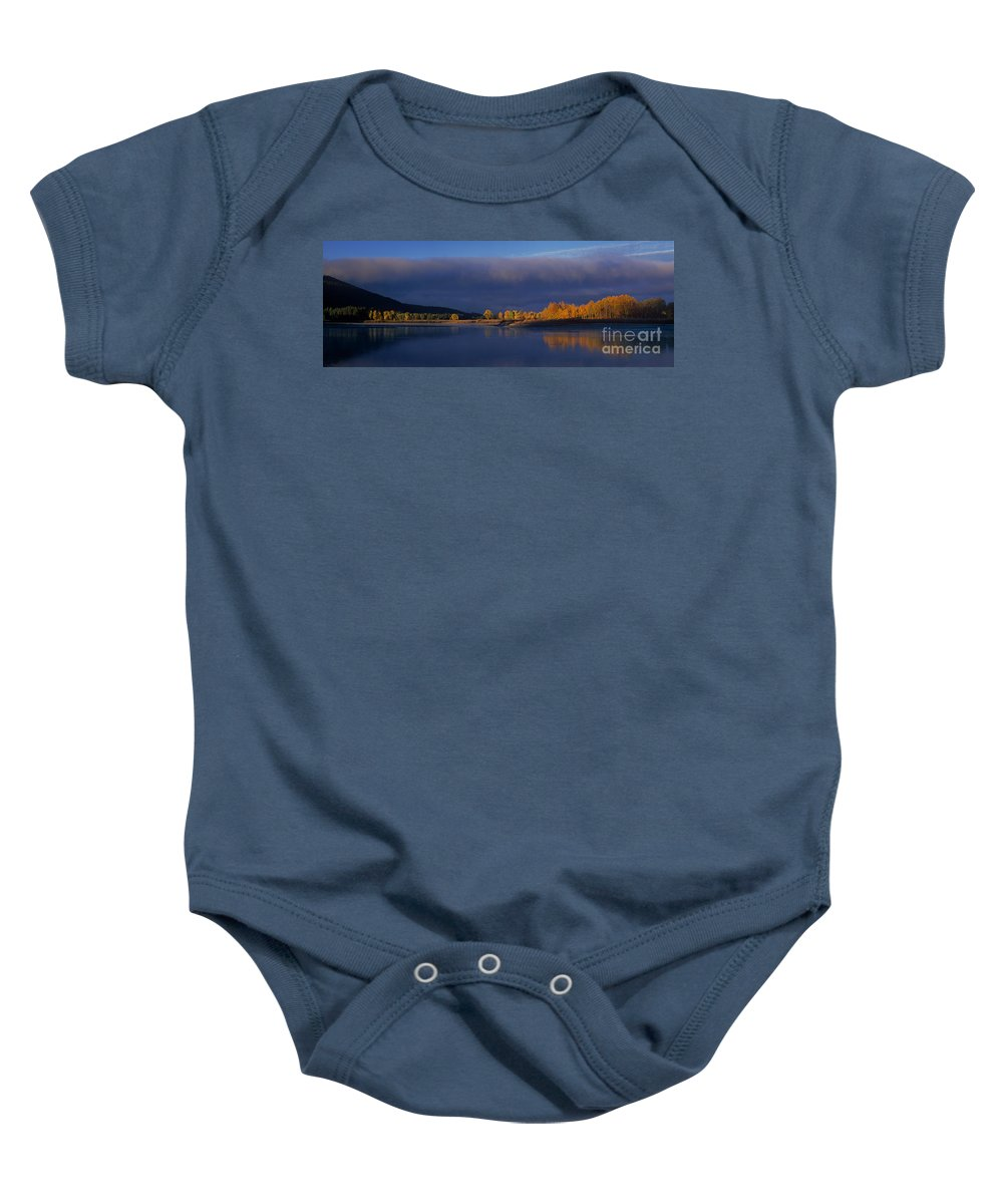 North America Baby Onesie featuring the photograph Panorama Clearing Storm Oxbow Bend Grand Tetons National Park Wyoming by Dave Welling